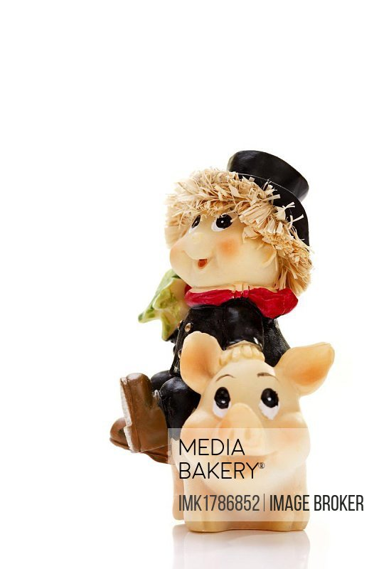Chimney sweeper on lucky pig, figurines