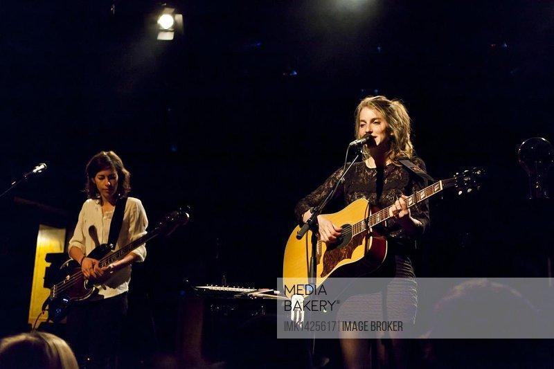 Sonja Glass and Valeska Steiner, from the German-Swiss pop duo Boy, performing live in the Schueuer concert hall, Lucerne, Switzerland, Europe