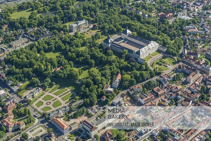City view with Friedenstein Castle and park, the Natural History Museum at back, Gotha, Thuringia, Germany, Europe
