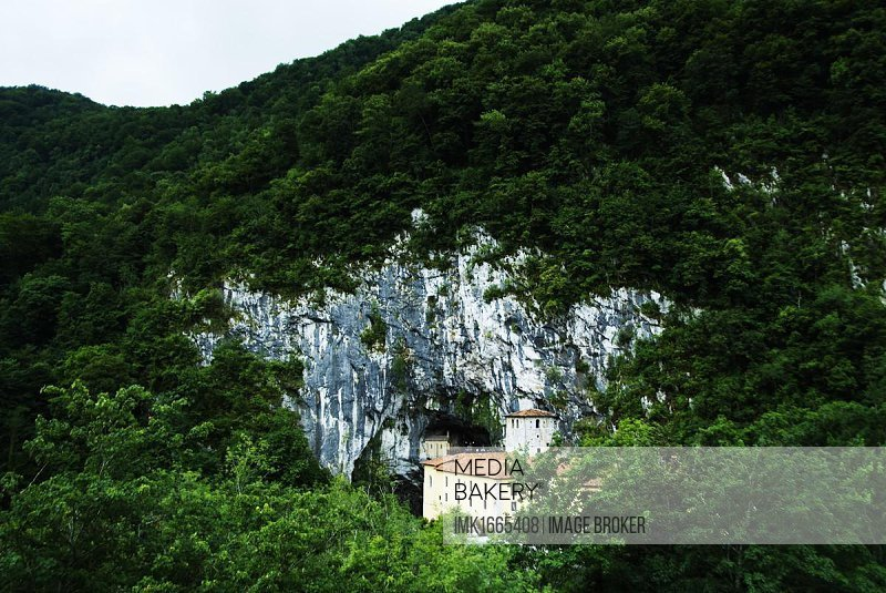 National Shrine of Covadonga, Santuario de Covadonga, Santa Cueva holy cave, hostel of the Virgen de las Batallas, Virgin of the Battles, near Cangas de Onis, Principality of Asturias, Spain, Europe