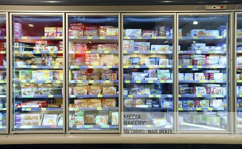 Frozen-food department, freezers with various convenience foods, self-service, food department, supermarket, Germany, Europe