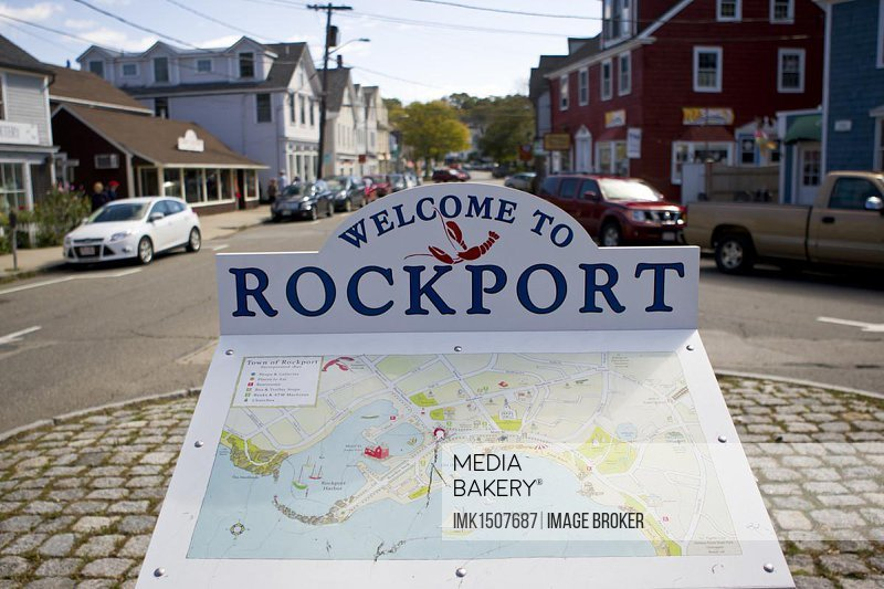 Welcome sign of the small fishing village of Rockport, with a map, Massachusetts, New England, USA, North America