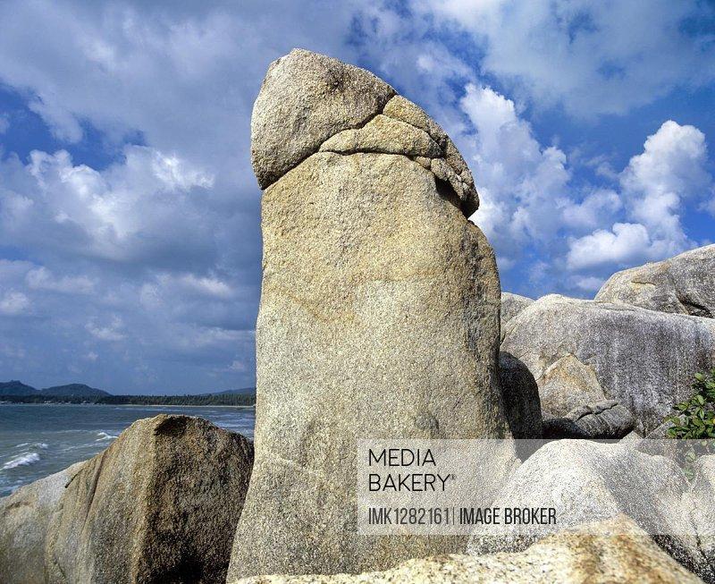 Rock formation, Hin Ta, Grandfather Rock, Penis Rock, Lamai Beach, Gulf of Thailand, Ko Samui, Southern Thailand, Thailand, Asia