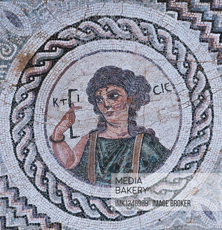 Ktisis soil mosaic, Eustolios villa, excavation site, Kourion, Cyprus, Europe
