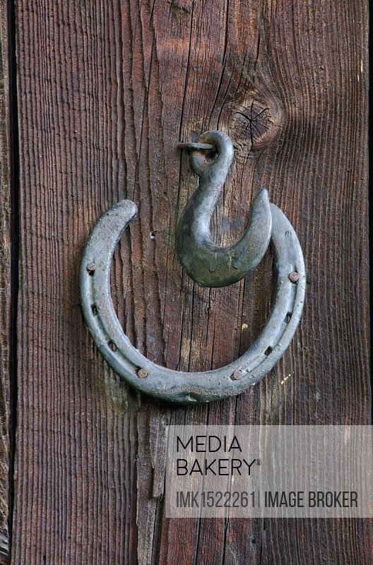 Horseshoe on a wooden wall