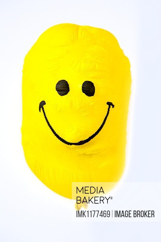 Balloon, yellow, with friendly smiley face, shrunk