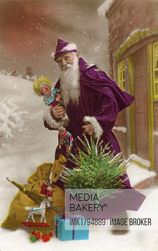 Santa with presents, doll, wooden horse, historic photograph, around 1922