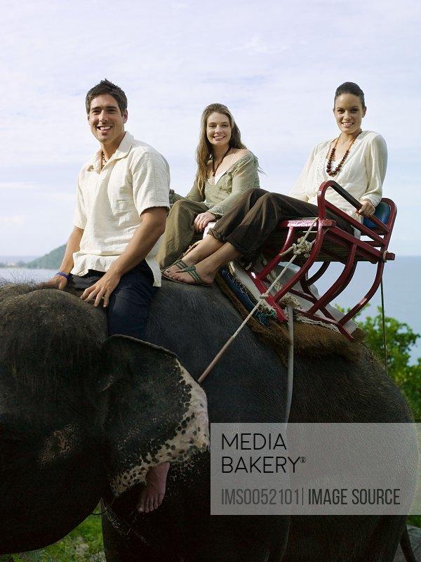 People riding on elephant