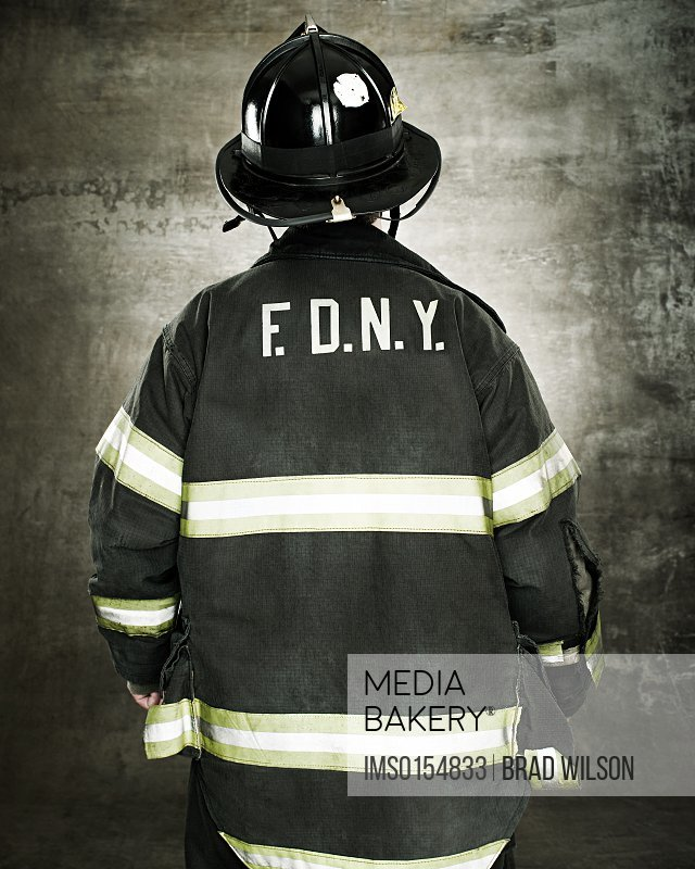 Rear view of a firefighter