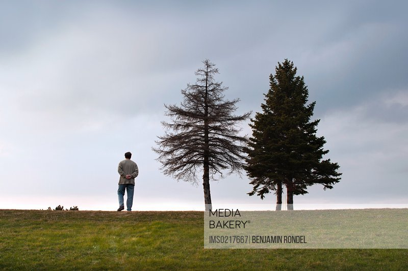 Man standing by two trees