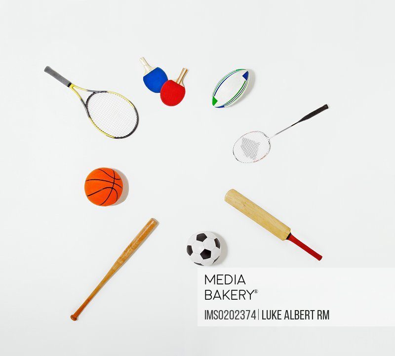 Sports equipment laid out in a circle