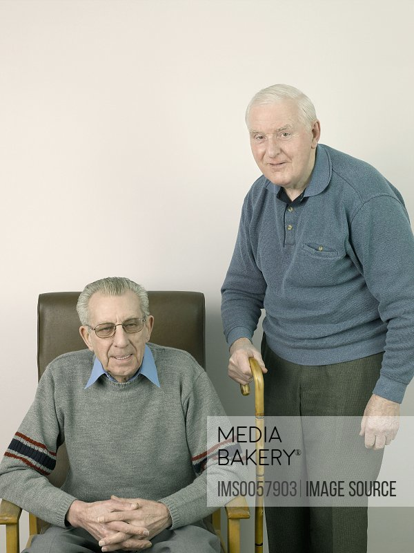 Two senior adult men