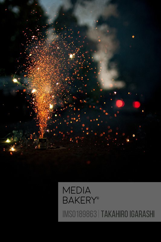 Fireworks exploding at night