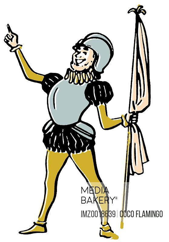 A drawing of a knight in amour holding a flag