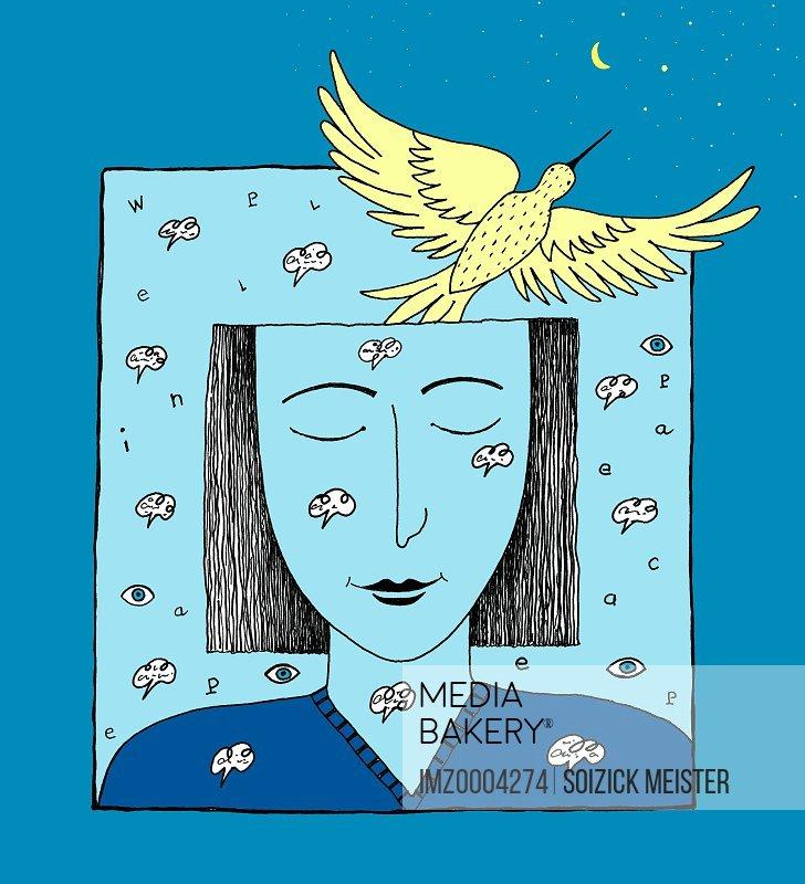 An illustration of a woman's imagination taking flight