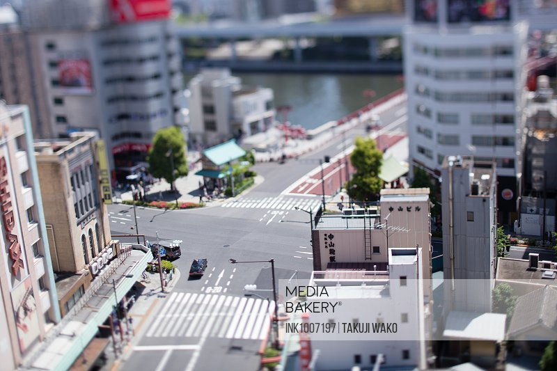 Tilt-shift bird's eye view of Tokyo, Tokyo, Japan