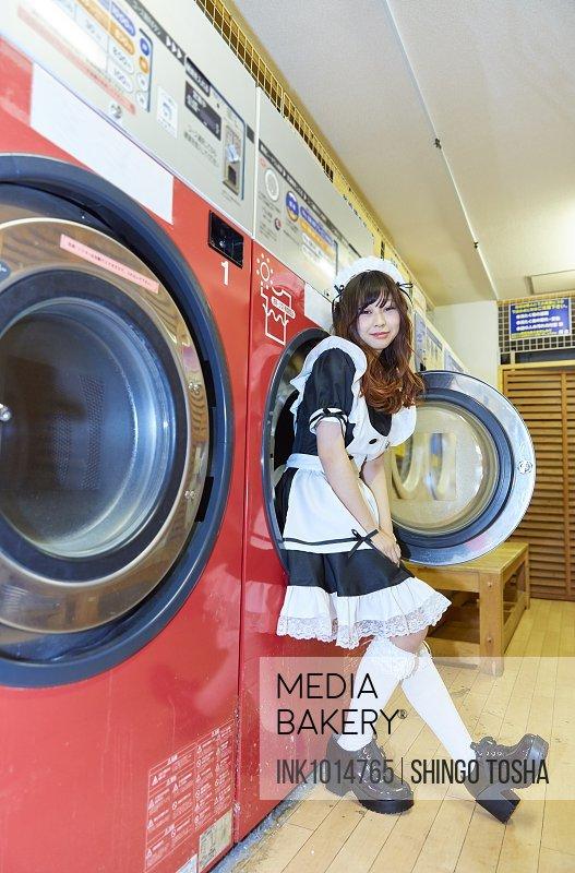 Japanese maid cosplay