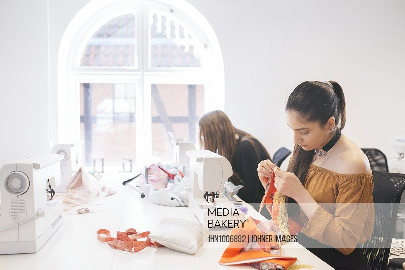 Women working at textile workshop