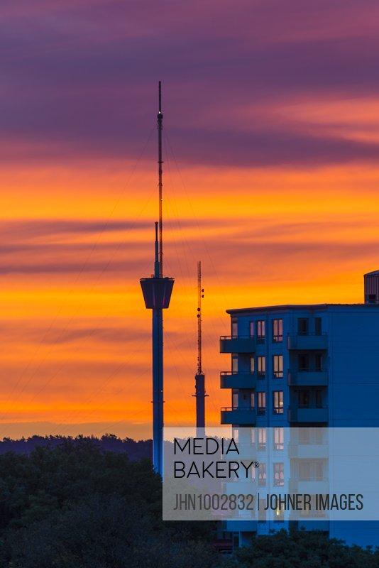 Communication tower at sunset
