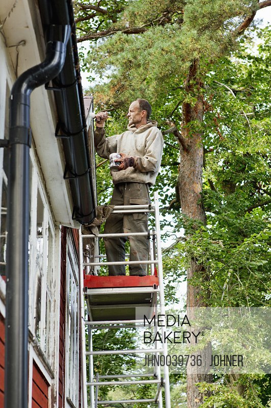 Photo by Johner Images - Man on ladder painting house
