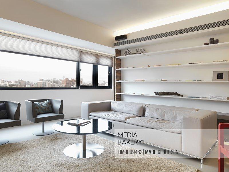 mediabakery photo by sheltered images modern living room with rh mediabakery com wall length bookshelves custom length wall shelves