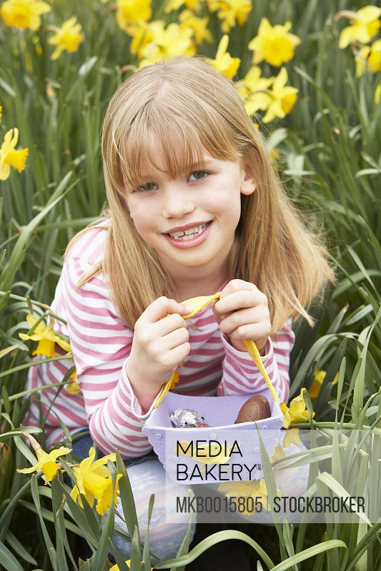 Young Girl In Daffodils At Easter