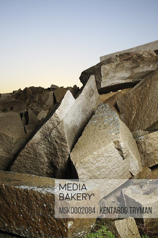 Heap of rocks over clear sky