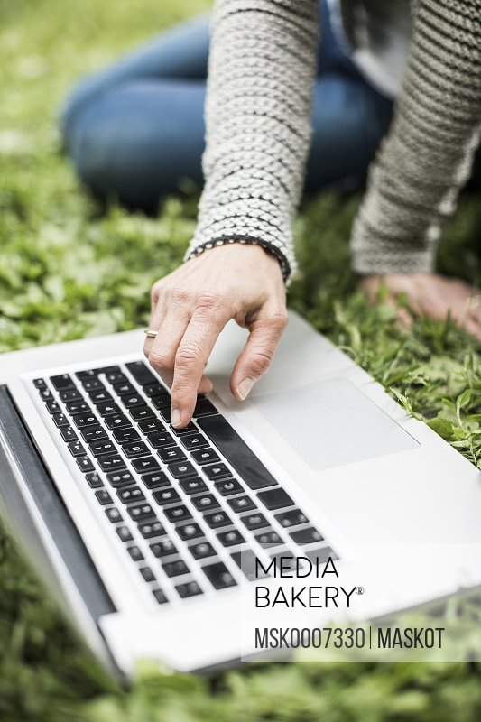 Cropped image of businesswoman using laptop on grass