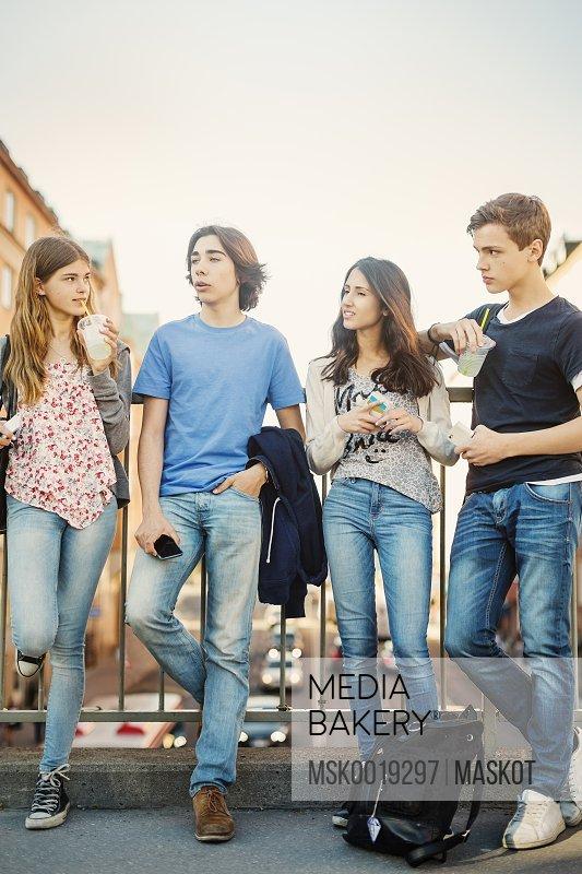 Teenagers spending leisure time on bridge