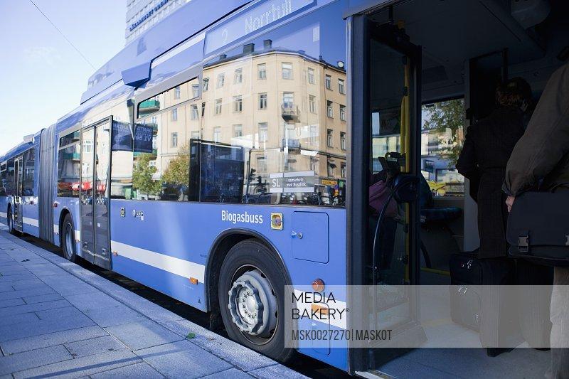 Bus with open door