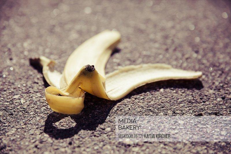 Banana skin on road