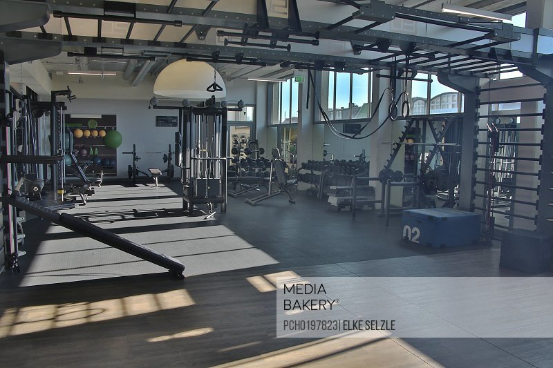 Weights Room in Modern Rooftop Health Club