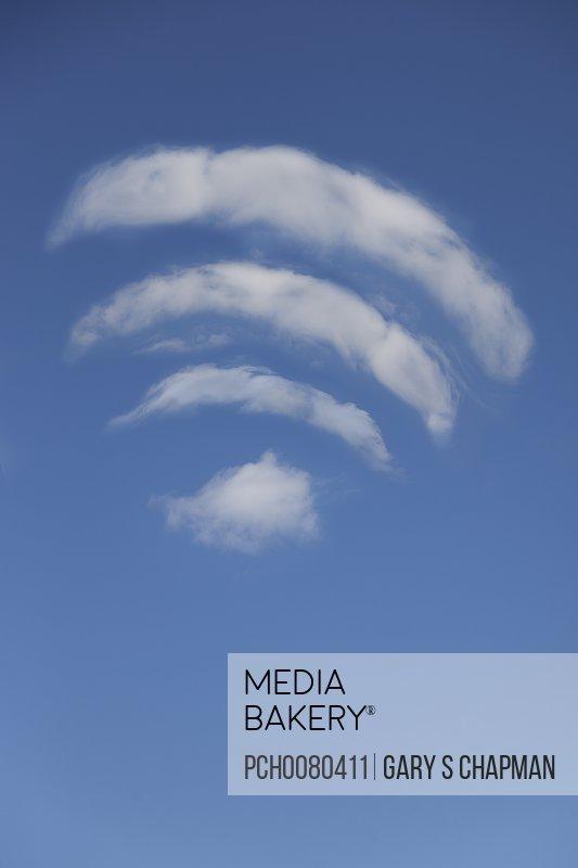 Wi-fi access shaped clouds in sky