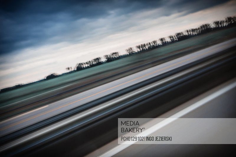 Blurred motion of highway