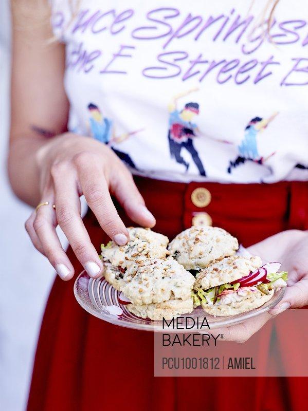 Red mullet,radish and samphire small rice bread sandwiche