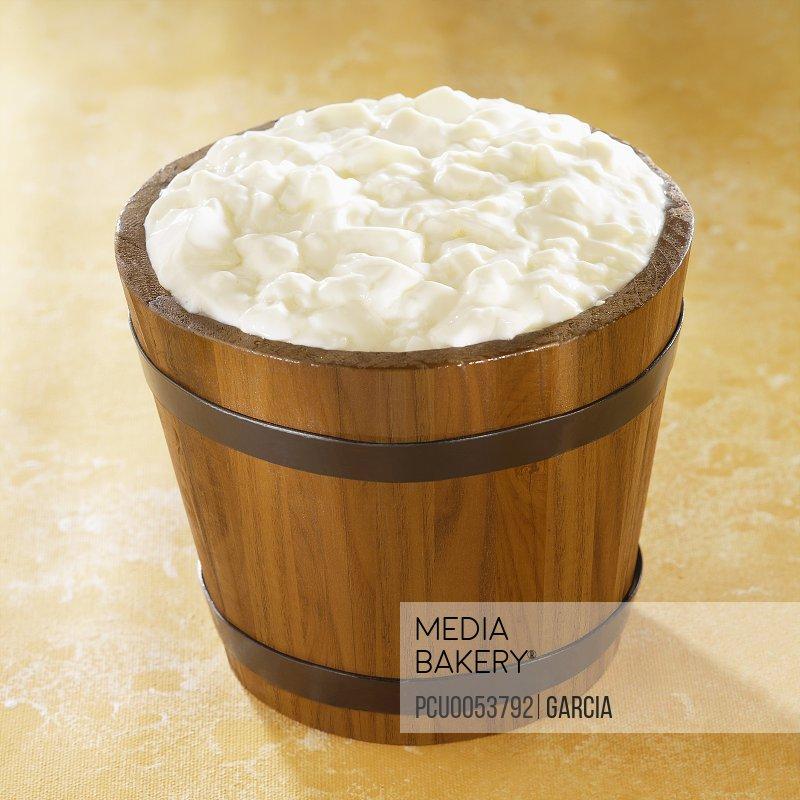 Bucket of curdled milk