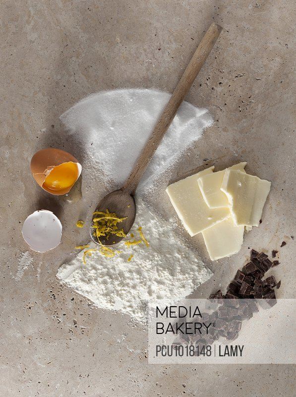 Ingredients for a chocolate pound cake