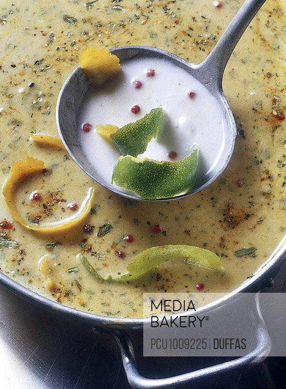 Coconut milk,spices,herbs and lemon zests marinade