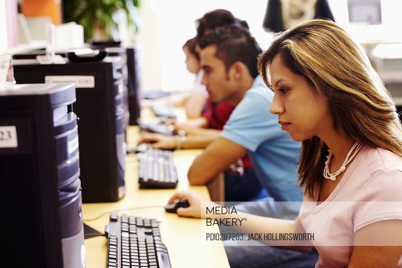 Students learning computer