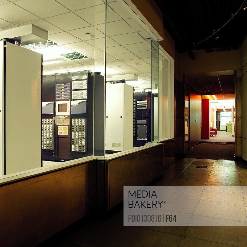 Office corridor beside computer server room