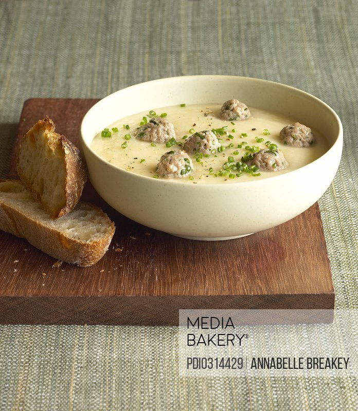 Bowl of meatball soup