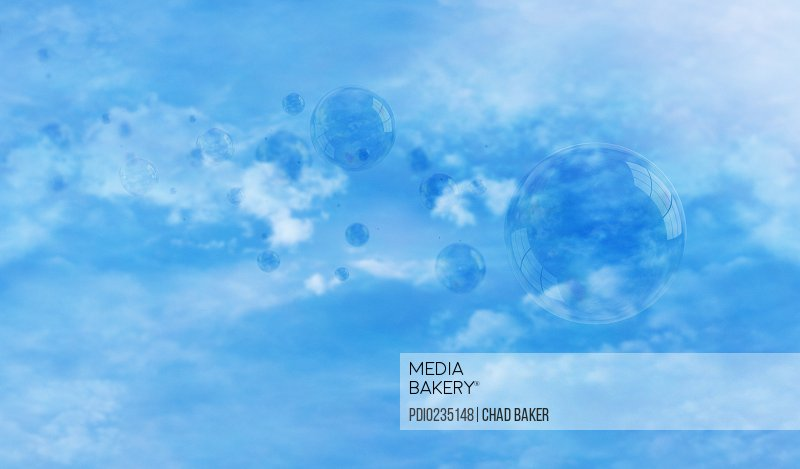 Bubbles against blue sky (Digital)