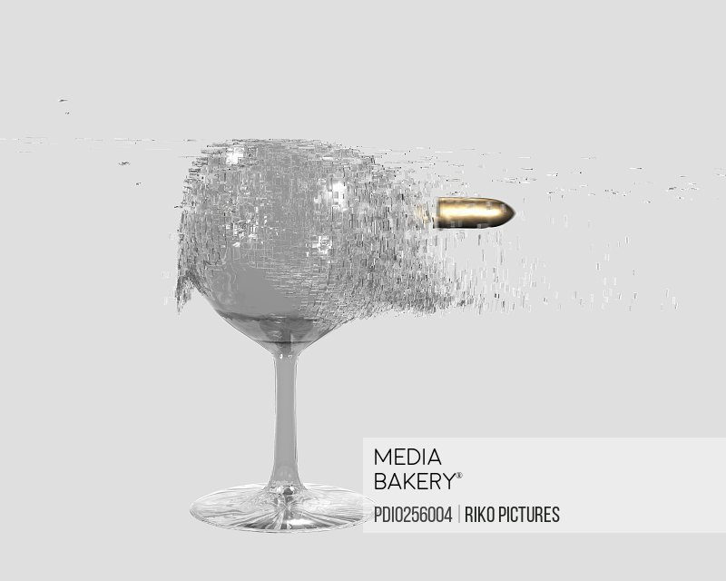 Bullet shattering wine glass (digital)