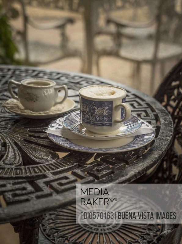 Ancient porcelain tableware in a cuban restaurant