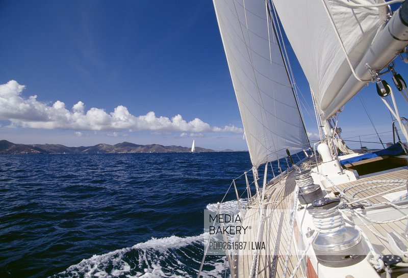 View from deck of tilting sailboat