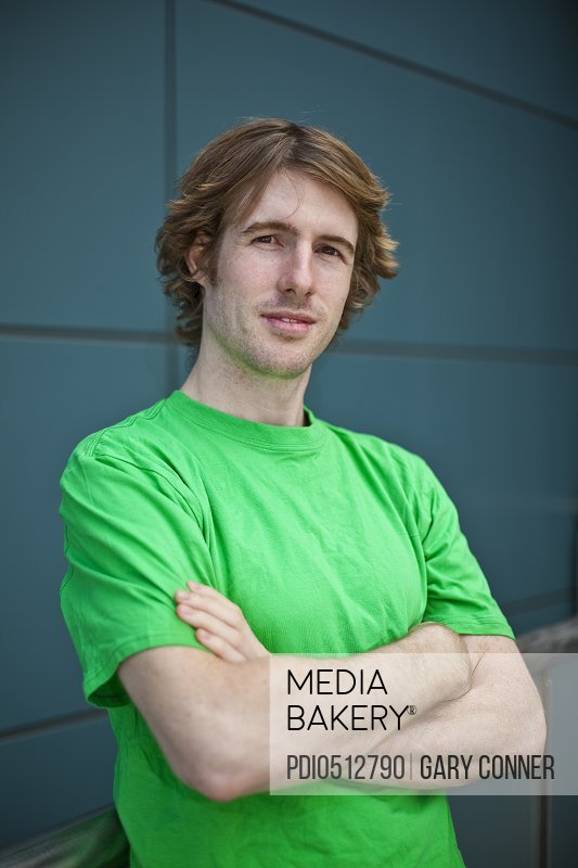 Young man in green T-shirt