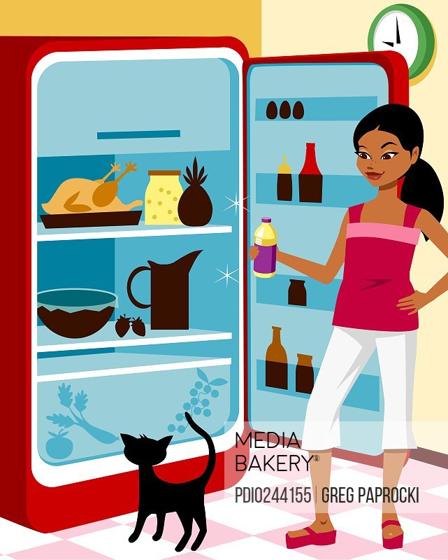 Woman and cat looking inside refrigerator