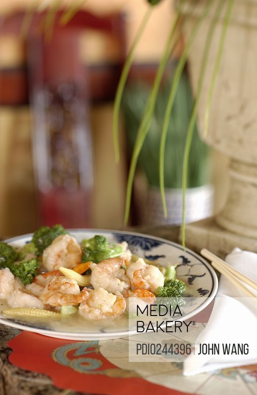 Shrimp dish on table at Chinese restaurant