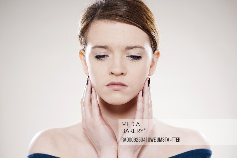 Head Shoulders Portrait of Teenage Girl in Studio