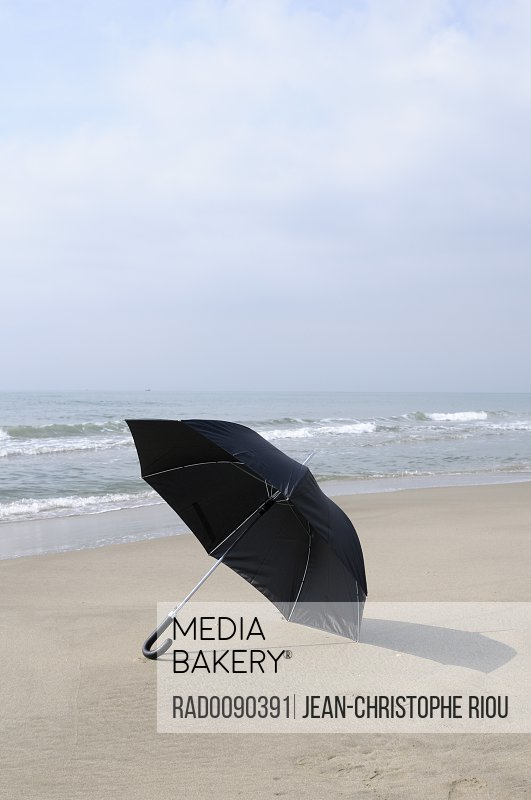 Open Umbrella on Beach Port Camargue Grau du Roi Gard Languedoc-Roussillon France